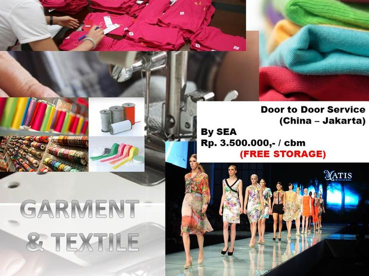 Door to Door Service from China to Jakarta by SEA for garment & textile products (free storage).