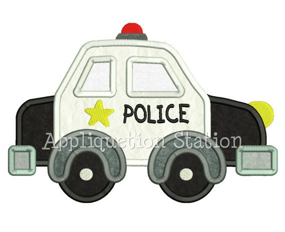 Cute Police Car Applique Machine Embroidery by AppliquetionStation, $3.50