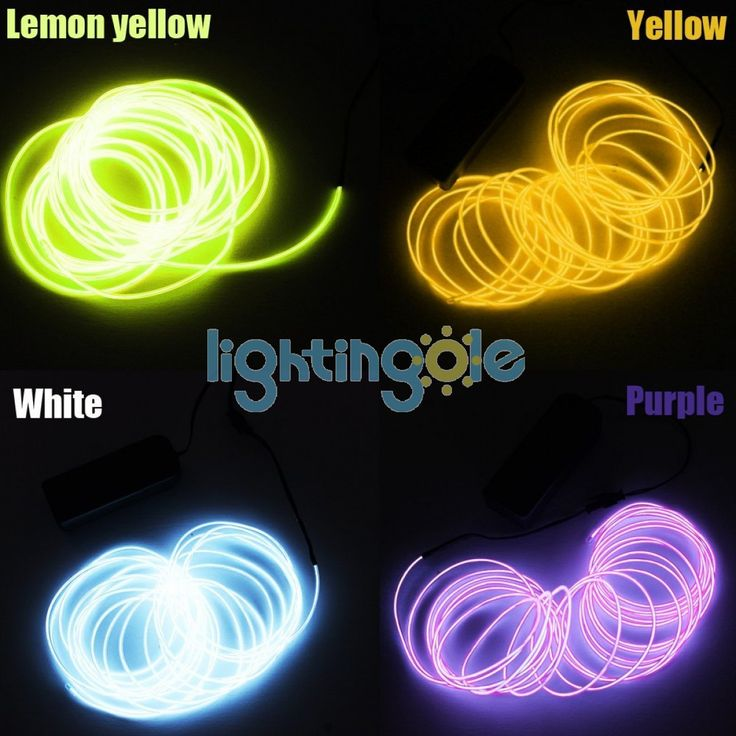 4PCS/Lot Multiple Color Yellow White Lemon Purple 4 modes 15FT Neon Glowing Strobing Electroluminescent El Wires - LED String - Strips and Strings - Lightingole.com