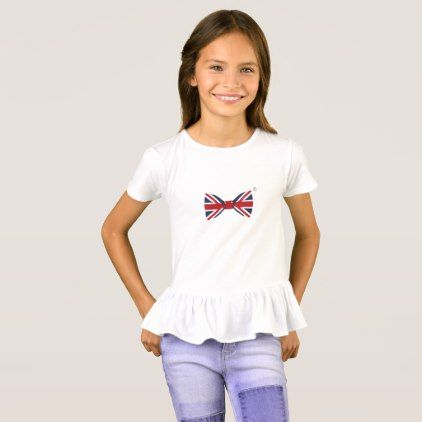 Girls' Ruffle T-Shirt - Union Jack Bow Tie - girl gifts special unique diy gift idea