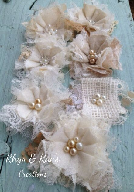 Beautiful Handmade Fabric Flower Wedding Decorations, Linen & Lace with Champagne Ivory Pearl Beads, Lot of 7, Wholesale Flowers, Bridal  on Etsy, $33.00