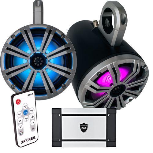 "Kicker Marine 8"""" Black Tower System, 8"""" Silver Kicker KM Coaxial Speakers, Wet Sounds HT-4 Amp, & 41KMLC LED Remote"