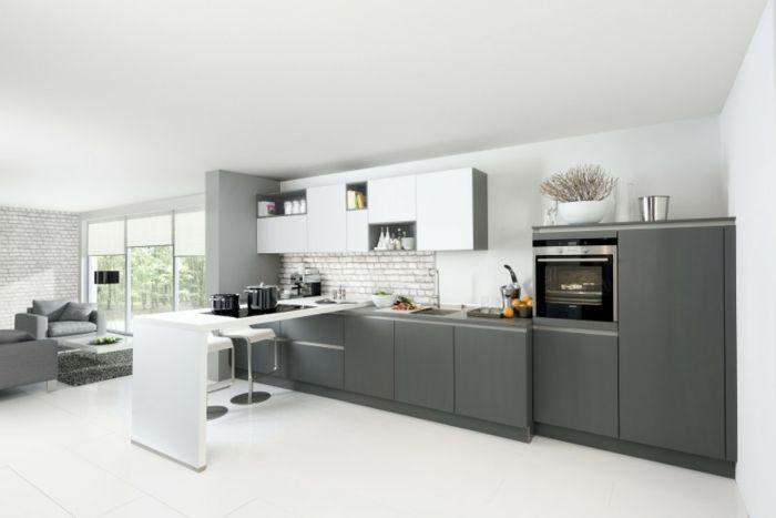 küchendesign nolte küche weiß grau modern stilvoll