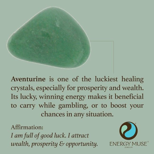 °Aventurine is one of the luckiest healing crystals, especially for prosperity & wealth. Its lucky, winning energy makes it beneficial to carry while gambling, or to boost your chances in any situation.