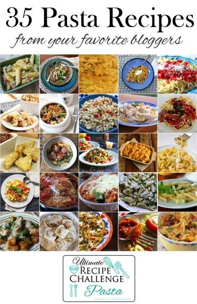 40 Pasta recipes from amazing food bloggers..  from entrees and appetizers to even dessert pastas.  Some gluten free, some vegetarian.  If you are a pasta fan, there is something for you here!