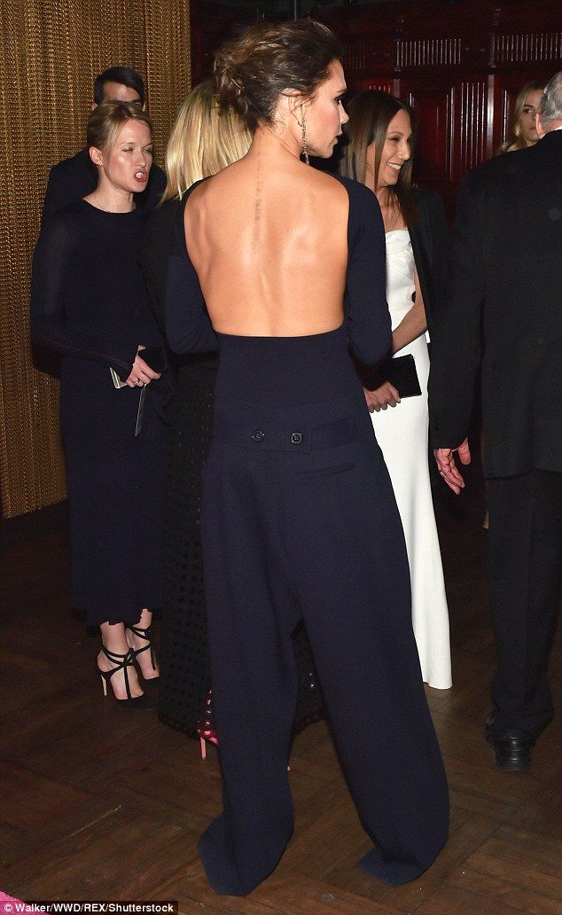 Victoria Beckham sports a backless midnight blue jumpsuit - May 2017 #dailymail