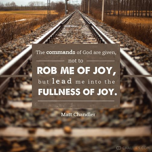 """""""The commands of God are given, not to rob me of joy, but lead me into the fullness of joy."""" (Matt Chandler)"""