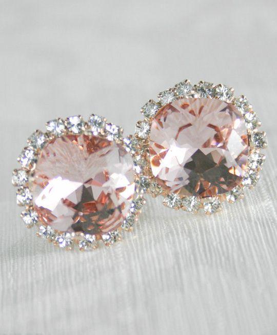 blush earringsswarovski blushswarovskiblush wedding jewelryblush bridal earringsblush rose gold earringsbridal earringsrose quartz