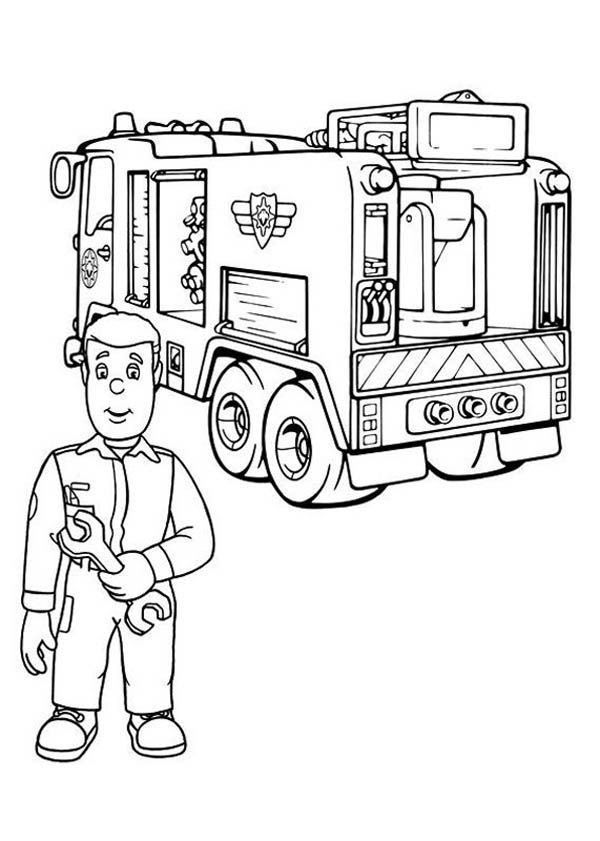 Fire Engine Coloring Pages : engine, coloring, pages, Fireman, Checking, Truck, Engine, Coloring, Pages,, Drawing,, Pages