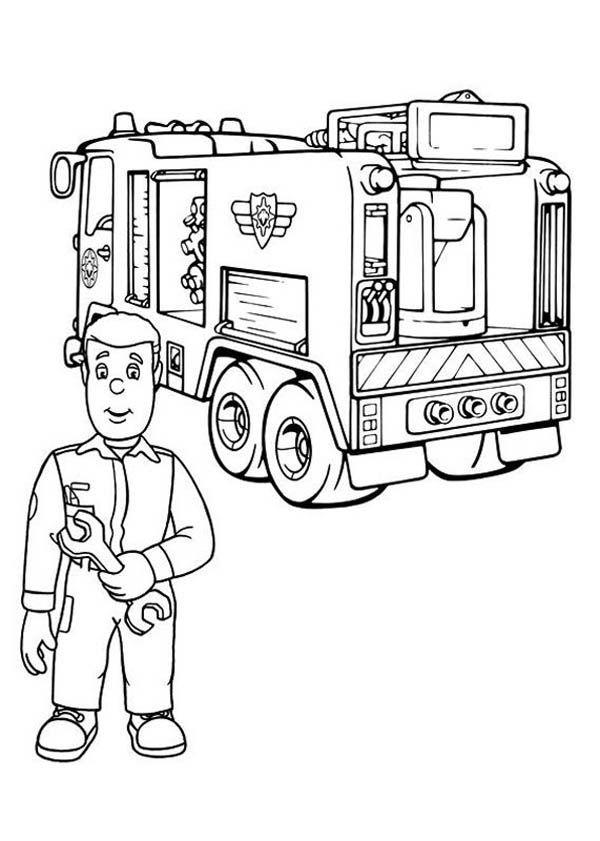 Fireman Sam Checking Fire Truck Engine Coloring Page Truck Coloring Pages Coloring Pages Fire Truck Drawing