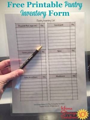 Free printable pantry inventory form to keep track of what you've got in stock in your pantry or food cupboards right now {courtesy of Home Storage Solutions 101}