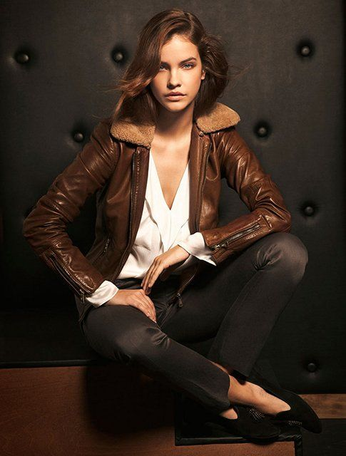 Brown Leather Jacket w/ Fur Collar by Massimo Dutti