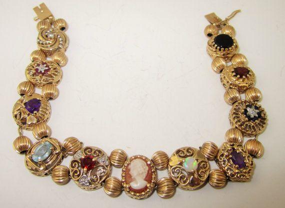 10K and 14K Gold Gemstone Slide Bracelet by LadyandLibrarian, $1200.00