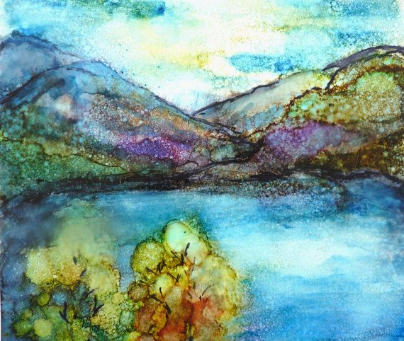 Alcohol Ink Landscape Print by Maure Bausch by twopoots on Etsy