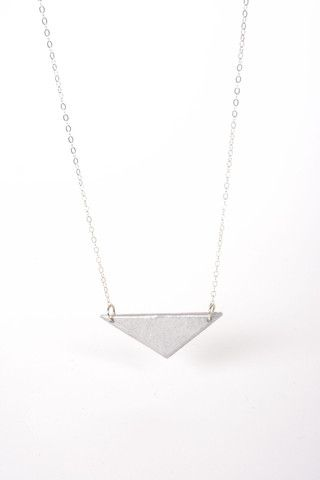 Single Triangle Necklace -Made of recycled bomb. Fair trade. Read the story at www.sustainlux.com