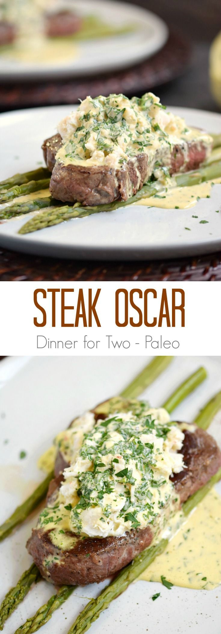 Are you looking for the perfect Date Night meal Steak Oscar will impress even the pickiest dinner companion, and it doesn't require a culinary degree! cookingwithcurls.com Dinner for Two | Paleo