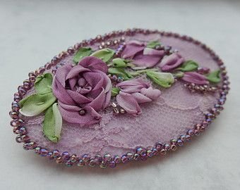 """Purple textile art embroidered silk ribbon embroidery brooch necklace pendant hair accessory jewelry """"Mysterious purple"""" romantic, roses"""
