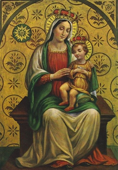 """Madonna della Stella The image of Our Lady of the Star in Montefalco, Italy. Montefalco became a place of pilgrimage in 1862 after a 5 year old boy saw a """"beautiful lady"""" by the ruins of an old church. She called him by his first name and told him to """"be good""""."""
