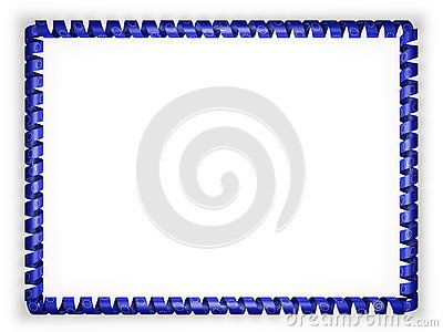 Frame and border of ribbon with the European Union flag. 3d illustration.