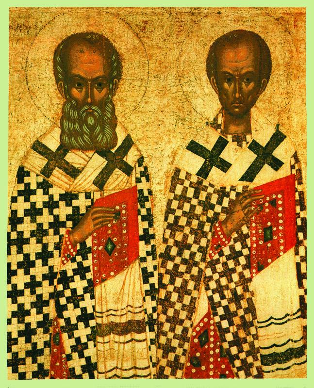 Фрагмент XV в. Избранные святые.  Григорий Богослов,  Иоанн Златоуст