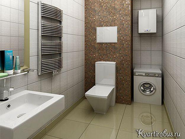 В отделке ванной в стиле контемпорари можно комбинировать тёмную плитку со светлой, а в сантехнике должны преобладать правильные геометрические формы.