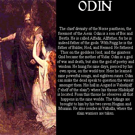"""Odin (Alfadir) : """" Worship of Odin may date to Proto-Germanic paganism. The Roman historian Tacitus may refer to Odin when he talks of Mercury. The reason is that, like Mercury, Odin was regarded as Psychopompos, """"guide of souls""""."""""""