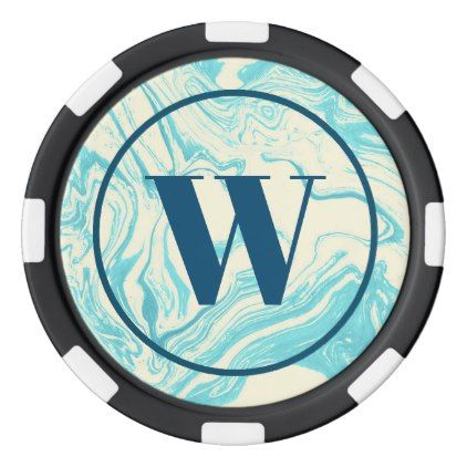 Cool Marble Design in Turquoise and Cream Monogram Poker Chips Set - faux gifts style sample design cyo