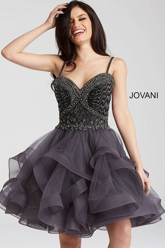 Charcoal grey embellished bodice with sweetheart neck and spaghetti strap with tulle tiered skirt and straight back availbe in large sizes.