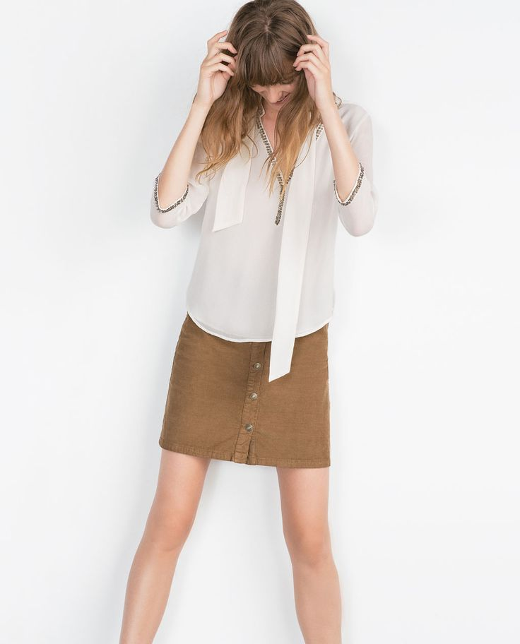 BLOUSE WITH NECKLINE DETAIL-View all-Tops-WOMAN | ZARA United States