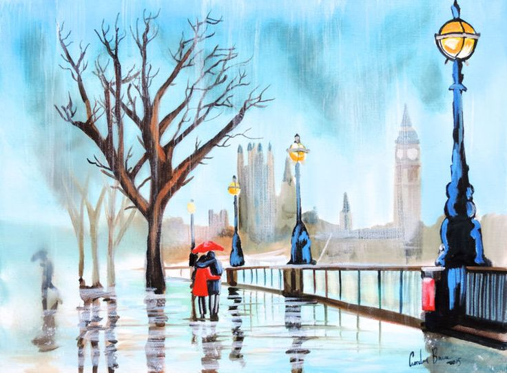 Couple with a red umbrella rainy day London painting Gordon Bruce new art