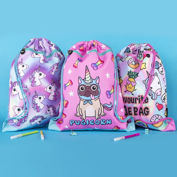 PE kit bag. Unique kids school accessory bag. Colourful and fun design featuring the latest trends, including pugicorn, unicorns, mermaids, etc