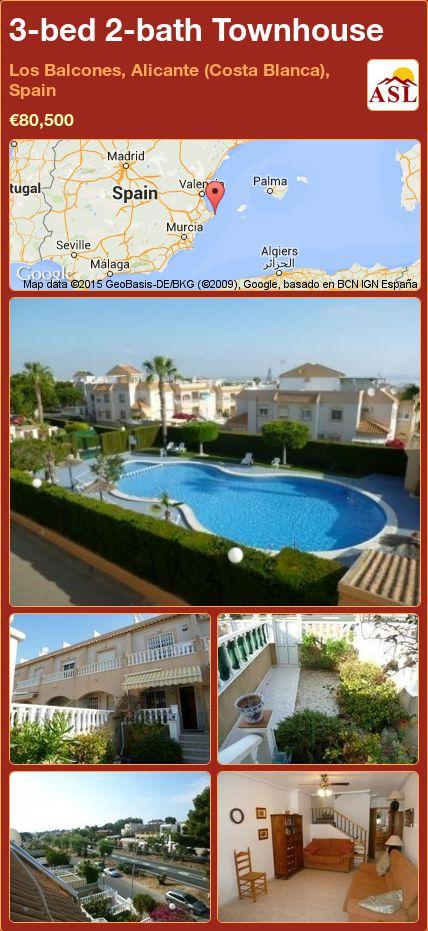 3-bed 2-bath Townhouse in Los Balcones, Alicante (Costa Blanca), Spain ►€80,500 #PropertyForSaleInSpain
