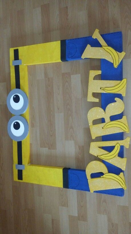 Easy diy minion frame to paint and decorate or you could spray paint them blue and yellow and have them just decorate!