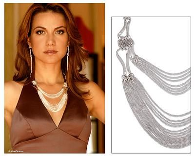Sterling silver strand necklace, 'Imagine' - Handcrafted Mexican Dramatic Silver Statement Necklace