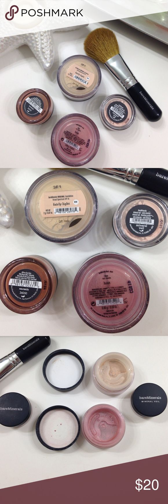 Bare Minerals set Foundation fairly light (opened), warmth(opened),mineral veil(opened), blush hint(50%) comes with new brush bareMinerals Makeup Foundation