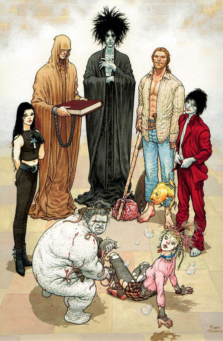 """The Endless from """"The Sandman"""" by Neil Gaiman. The Sandman focuses on the character of Morpheus AKA Dream (back, center). Also depicted here are his siblings (from l-r, clockwise): Destruction, Desire, Delirium, Despair, Death, and Destiny. Art by Frank Quitely"""