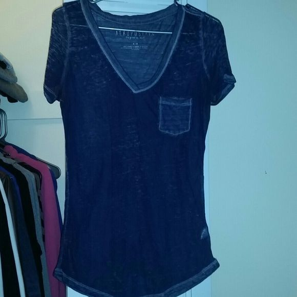 Navy Blue V-neck Shirt Navy blue color, v-neck, see-through, thin Aeropostale Tops
