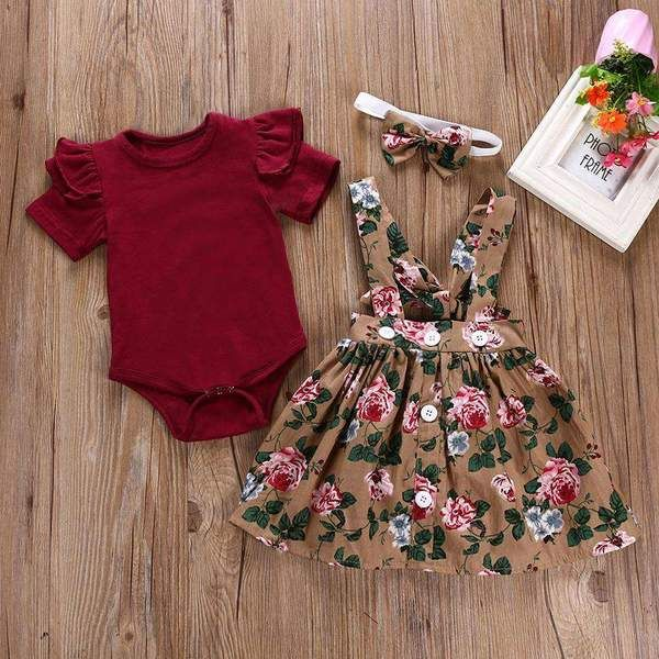 Ruffle Crimson Romper and Floral Overall Skirt with Headband  – Styles and Trends