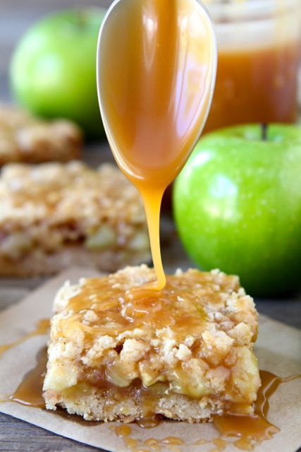 Salted Caramel Apple Crumb Bars from twopeasandtheirpod.com The perfect dessert for fall! #recipe