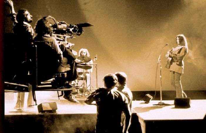 The Band on the sound stage, filming for The Last Waltz