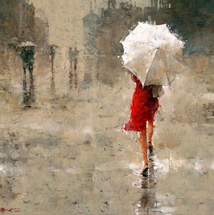 В работе современный художник показал романтическое настроения, красоту, дождь и идущую женщину.