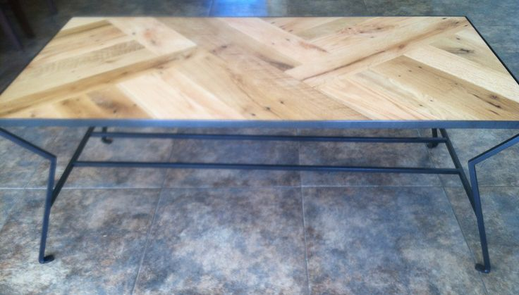 Custom iron and oak coffee table, $450