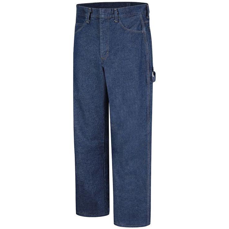 Men's Bulwark FR Excel FR Pre-Washed Dungaree Jeans, Size: 30X34, Blue