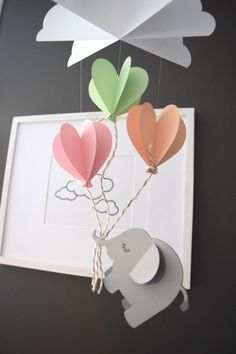 Nursery Elephant with Heart Balloons Paper Mobile by TrueLoveAndPaper