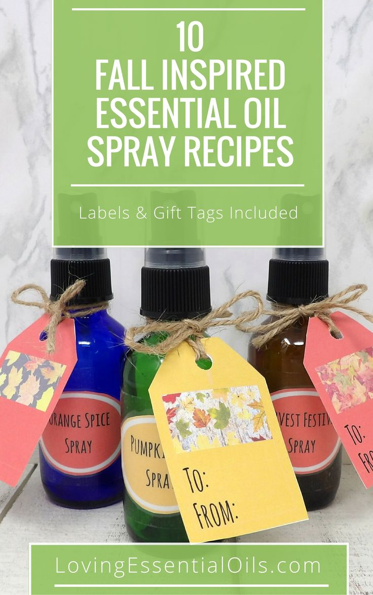 Happy Fall! Here are 10 Fall Inspired Essential Oil Spray Recipes, get your free printable guide includes bottle labels and gift tags, check it out now and make room sprays and air fresheners that are reminiscent of autumn.