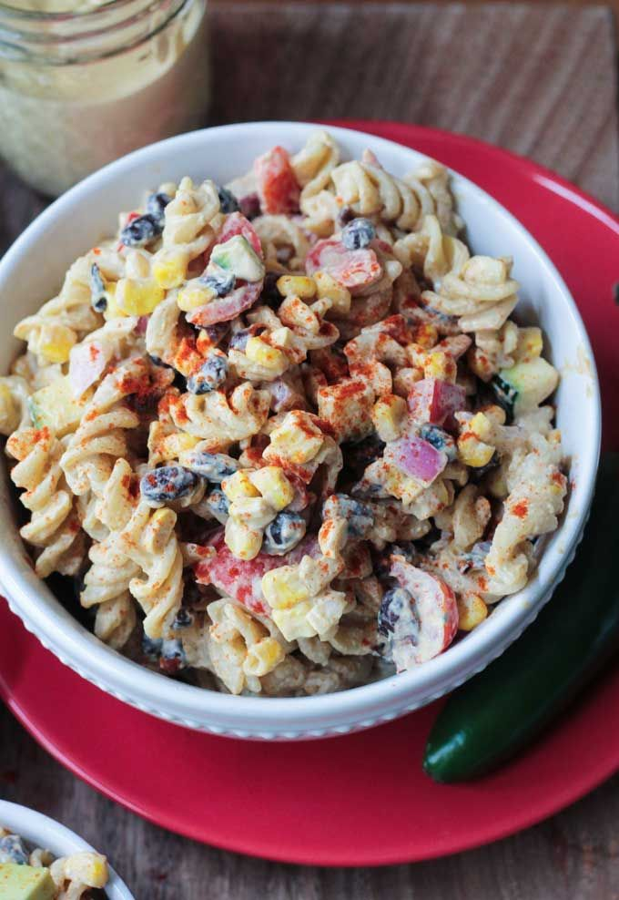 Southwest Black Bean Pasta Salad - your new go-to backyard BBQ dish! It makes enough to feed a crowd! Leftovers are great too!