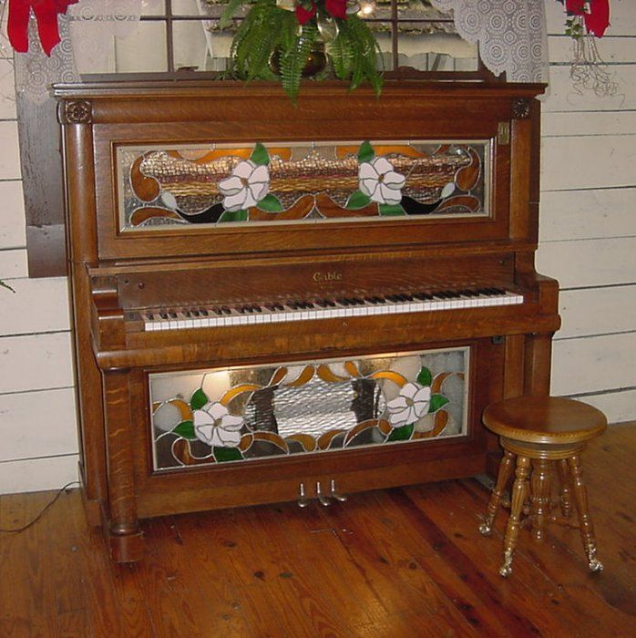 1926 Cable Coin Operated Nickelodeon Player Piano  Beautiful Coin-Operated Cable Nickelodeon Player Piano With Magnolia Stained Glass