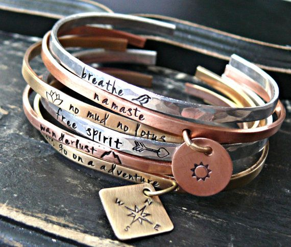 Mixed Metals Layering Personalized Bracelet - Personalized Bracelets - Personalized Bangles - Personalized Cuffs - Hand Stamped Personalized