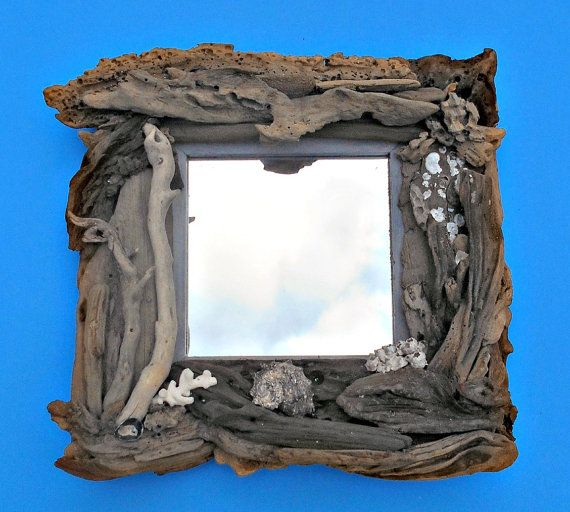 """Driftwood Seashell Mirror, Shell and Oyster Clusters, Frame Measure 13"""" x 13"""", Piled with Driftwood, 6""""x 6"""" Opening, Hand Made"""