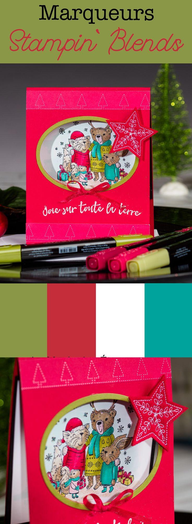 Carte de Noël coloriée avec les marqueurs Stampin' Blends Stampin' Up!
